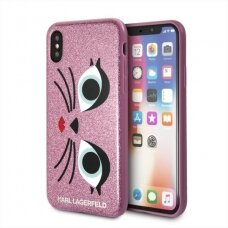 Originalus Karl Lagerfeld Dėklas Klhcpxglchpi Iphone X Hard Case Rožinis/  K-Paris
