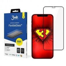 LCD apsauginis stiklas 3MK FlexibleGlass Max iPhone 12 Mini juodais kraštais