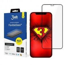 3MK FlexibleGlass Max tvirtas apsauginis dėklas iPhone 12 Pro Max juodais kraštais