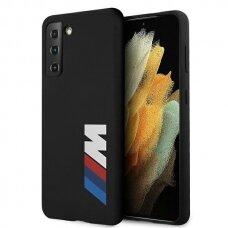 Dėklas BMW BMHCS21MMSLBLBK Silicone Signature Logo Samsung Galaxy S21 Plus telefonui juodas