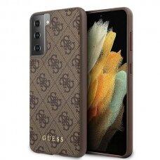 Dėklas Guess GUHCS21MG4GFBR 4G Metal Gold Logo Samsung Galaxy S21 Plus telefonui rudas