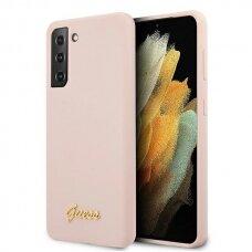 Dėklas Guess GUHCS21MLSLMGLP Silicone Script Metal Logo Samsung Galaxy S21 Plus rožinis