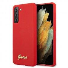Dėklas Guess GUHCS21MLSLMGRE Silicone Script Metal Logo Samsung Galaxy S21 Plus telefonui raudonas