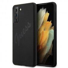 Dėklas Guess GUHCS21MLSVSBK Script Vintage Samsung Galaxy S21 Plus telefonui juodas