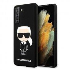Dėklas Karl Lagerfeld KLHCS21MSLFKBK Silicone Iconic Samsung Galaxy S21 Plus telefonui juodas