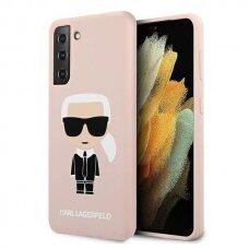 Dėklas Karl Lagerfeld KLHCS21MSLFKPI Silicone Iconic Samsung Galaxy S21 Plus telefonui rožinis