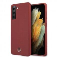 Dėklas Mercedes MEHCS21MSILRE Silicone Line Samsung Galaxy S21 Plus telefonui raudonas