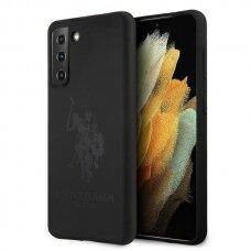 Dėklas US Polo USHCS21MSLHRTBK Silicone On Tone Samsung Galaxy S21 Plus telefonui juodas