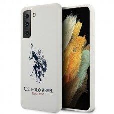 Dėklas US Polo USHCS21MSLHRWH Silicone Logo Samsung Galaxy S21 Plus telefonui baltas