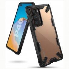 """APSAUGINIS PLASTIKINIS DĖKLAS """"RINGKE FUSION X DURABLE"""" Huawei P40 juodas (FUSG0053)  UCS070"""