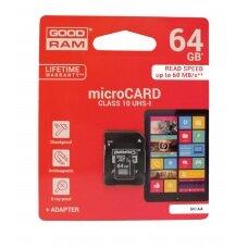 Atminties korta Goodram microSD 64Gb UHS I (class 10) + SD adapteris