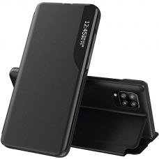 Atveečiamas dėklas Eco Leather View Case elegant Samsung Galaxy A12 Juodas