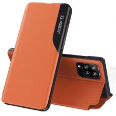 Atverčiamas dėklas Eco Leather View Case elegant Samsung Galaxy A12 oranžinis