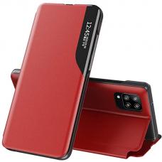 Atverčiamas dėklas Eco Leather View Case elegant Samsung Galaxy A12 Raudonas