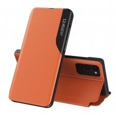 Atverčiamas dėklas Eco Leather View Case elegant Samsung Galaxy A32 4G Oranžinis