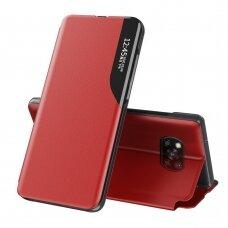 Atverčiamas dėklas Eco Leather View Case elegant Xiaomi Poco X3 NFC raudonas