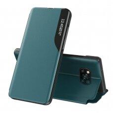 Atverčiamas dėklas Eco Leather View Case elegant Xiaomi Poco X3 NFC Tamsiai žalias