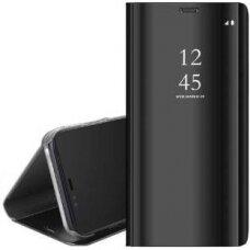 """ATVERČIAMAS PLASTIKINIS DĖKLAS PERMATOMU-VEIDRODINIU VIRŠELIU """"SVIEW"""" Samsung Galaxy A51 juodas (lop20) UCS025"""