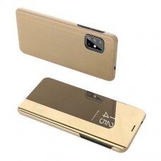 """Atverčiamas Plastikinis Dėklas Permatomu-Veidrodiniu Viršeliu """"Sview"""" Samsung Galaxy S20 Plus Auksinis"""