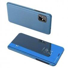 """Atverčiamas Plastikinis Dėklas Permatomu-Veidrodiniu Viršeliu """"Sview"""" Samsung Galaxy S20 Plus Mėlynas"""