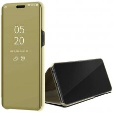 """Atverčiamas Plastikinis Dėklas Permatomu-Veidrodiniu Viršeliu """"Sview"""" Samsung Galaxy S20 Ultra Auksinis"""