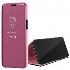 """Atverčiamas Plastikinis Dėklas Permatomu-Veidrodiniu Viršeliu """"Sview"""" Samsung Galaxy S20 Ultra Rožinis"""