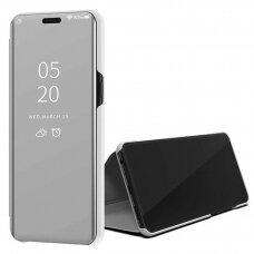 """Atverčiamas Plastikinis Dėklas Permatomu-Veidrodiniu Viršeliu """"Sview"""" Samsung Galaxy S20 Ultra Sidabrinis"""
