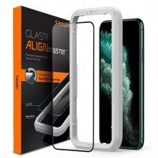 Aukštos kokybės grūdintas stiklas Spigen Alm Glass Fc 2-Pack Iphone 12 Pro Max juodais kraštais