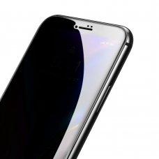 """Grūdintas Apsauginis Stiklas Sutvirtintais Kraštais """"Baseus Anti-Spy 0.23Mm Curved"""" Iphone 8 Plus / Iphone 7 Plus Juodais Kraštais (Sgapiph8P-Atg01)"""