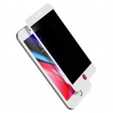 """Grūdintas Apsauginis Stiklas Sutvirtintais Kraštais """"Baseus Anti-Spy 0.23Mm Curved"""" Iphone 8 Plus / Iphone 7 Plus Baltais Kraštais (Sgapiph8P-Atg02)"""