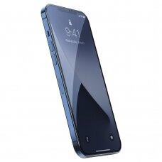 LCD apsauginis stiklas Baseus antispy 2X Pilnai Dengiantis 0,25Mm  Iphone 12 Pro Max Juodais Kraštais (Sgapiph67N-Kc01)