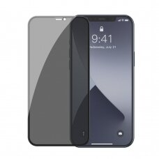 Grūdintas Stiklas Su Apsauga Nuo Mėlynos Šviesos Baseus Anti Spy Light 2X Iphone 12 Pro / Iphone 12 Juodais Kraštais