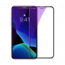 2 Vnt Pilnai Dengiantis Stiklas Su Apsauga Nuo Mėlynos Šviesos Baseus  Iphone 11 / Iphone Xr Juodais Kraštais