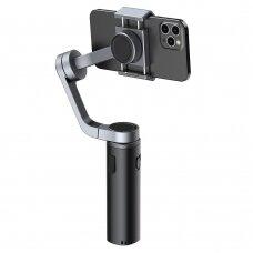 Baseus 3-Axis Smartphone Handheld Gimbal Stabilizer Telefono Laikiklis Nuotraukų Ir Video Įrašymams iOS Android suderinama Live Vlog YouTube TikTok Transliacijoms Pilkas (SUYT-D0G)
