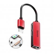 Adapteris Baseus 3-In-1 Iš Ip Male Į Dual Ip & 3.5Mm Female L52 raudonas/juodas