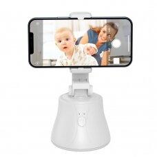 Baseus 360 laipsnių kampu besisukantis nešiojamas telefono laikiklis stabilizuojantis vaizdą YouTube TikTok Baltas (SUYT-B02)