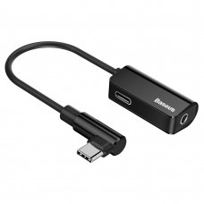 Audio konverteris Baseus Audio Converter L45 Adapteris Iš Usb-C Į Usb-C Port (Female) + Ausinių Lizdas 3,5 Mm (Female) Juodas