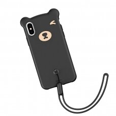 Baseus Bear Flexible Gel silikoninis dėklas  iPhone XS / iPhone X juodas (WIAPIPH58-BE01) (ctz013)