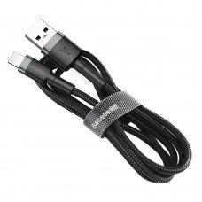 Baseus Cafule Cable Durable Nylon Braided Wire Usb / Lightning Qc3.0 2.4A 0,5M Black-Grey (Calklf-Ag1)