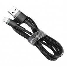 Baseus Cafule Cable Durable Nylon Braided Wire Usb / Lightning Qc3.0 2.4A 1M Black-Grey (Calklf-Bg1)