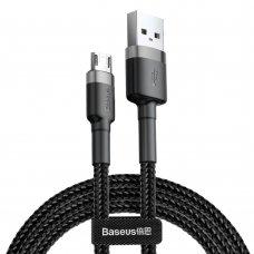 Baseus Cafule Cable Durable Nylon Braided Wire Usb / Micro Usb Qc3.0 2.4A 1M Black-Grey (Camklf-Bg1)