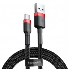 Baseus Cafule Cable Durable Nylon Braided Wire Usb / Usb-C Qc3.0 3A 1M Black-Red (Catklf-B91)