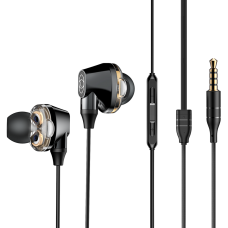 BASEUS ENCOK H10 EARPHONES IN-EAR WIRED HEADPHONES WITH DUAL MOVING-COIL BLACK (NGH10-01)
