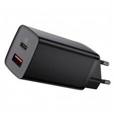Baseus GaN2 Lite Greitas Buitinis Įkroviklis 65W USB / USB Typ C Greitas Įkrovimas 3.0 (galio nitridas) Juodas (CCGAN2L-B01)