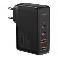 Baseus GaN2 Pro Greitas Buitinis Įkroviklis 100W USB / USB Typ C Quick Charge 4+ Power Delivery Juodas (CCGAN2P-L01)