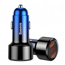 BASEUS MAGIC SERIES DUAL QC CAR CHARGER WITH DIGITAL DISPLAY 2X USB QC3.0 45W 6A BLUE (CCMLC20A-03)