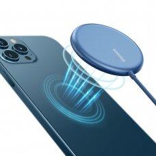 Baseus mini magnetinis belaidis Qi įkroviklis 15 W (MagSafe suderinama su iPhone) Mėlynas (WXJK-H03)