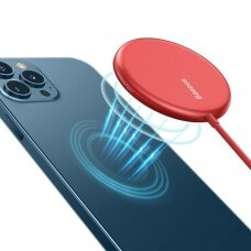 Baseus mini magnetinis belaidis Qi įkroviklis 15 W (MagSafe suderinama su iPhone) Raudonas (WXJK-H09)