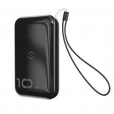Baseus Mini S Bracket Išorinė Baterija 10000Mah 18W Su Belaidžiu Įkrovikliu Qi 10W Juodas (Ppxff10W-01)