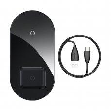 Baseus Simple 2In1 Belaidis Įkroviklis Qi Skirtas Išmaniesiems Telefonams Ir Airpods 18W Juodas (Wxjk-01)